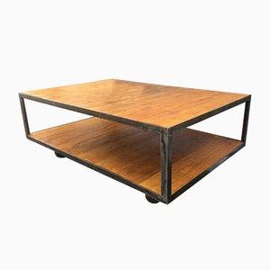Tavolino da caffè vintage industriale in metallo e legno