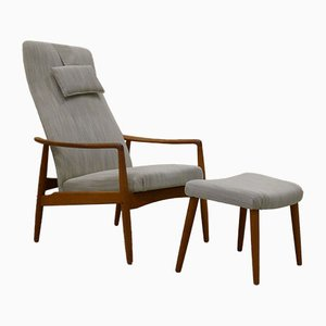 Danish Teak High-Back Armchair with Footstool by Søren J. Ladefoged, 1960s