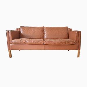 Sofá danés de cuero coñac de Stouby, años 80