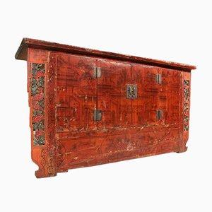 Credenza antigua de madera pintada