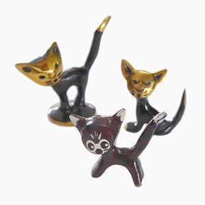 Vintage Katzenfiguren von Walter Bosse für Hertha Baller, 3er Set