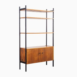 Freestanding Walnut Shelf with Cabinet, 1960s