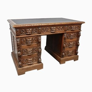 Antique Oak Green Man Pedestal Desk