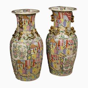 Jarrones chinos de cerámica pintada y dorada, años 60. Juego de 2