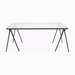 Industrial Glass and Steel Trestle Table, 1960s