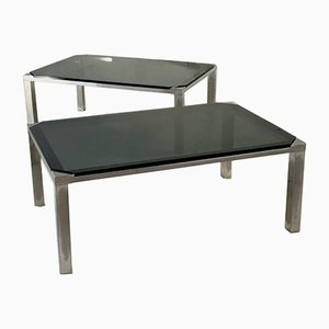 Tables d'Appoint en Métal Argenté et Verre Noir de par Maison Jansen, 1970s, Set de 2