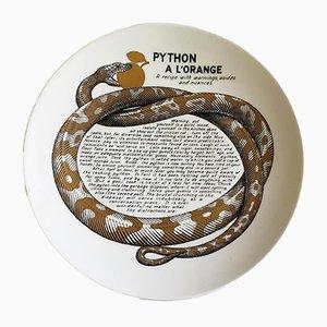 Assiette Recette du Python à l'Orange par Atelier Fornasetti pour Fleming Joffe, 1960s