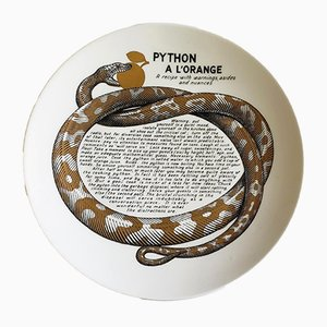 Python à L'Orange Recipe Plate by Atelier Fornasetti for Fleming Joffe, 1960s