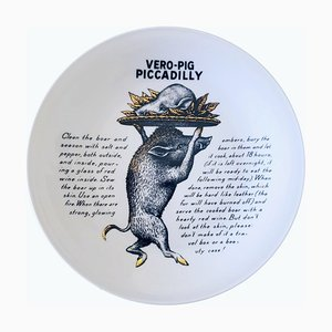 Porcelain Fleming Joffe Vero-Pig Piccadilly Recipe Plate by Piero Fornasetti, 1967