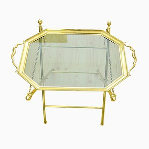 Brass Height-Adjustable Folding Side Table, 1970s