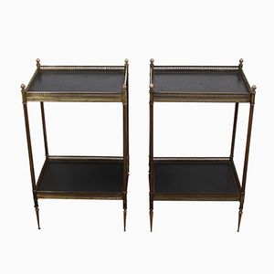Mid-Century French Black Leather & Brass Side Tables, Set of 2