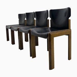Moderner italienischer Esszimmerstuhl mit Sitz aus Leder von Luciano Frigerio, 1980er