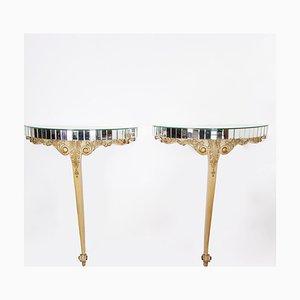 Consolas Mid-Century francesas de madera dorada y espejo. Juego de 2