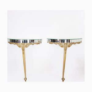 Französische Mid-Century Konsolentische aus vergoldetem Holz & Spiegelglas, 2er Set