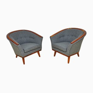 Skandinavische Sessel mit Gestell aus Teak & Wollbezug, 1950er, 2er Set