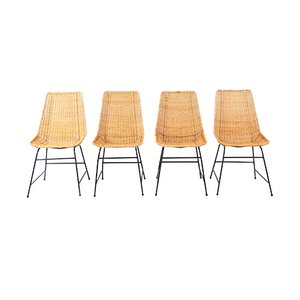 Vintage Wicker Dining Chairs, Set of 4