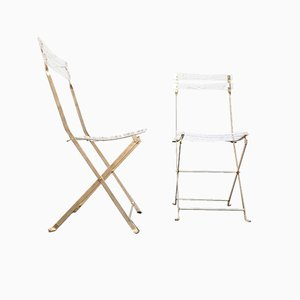 Foldable Plexiglass & Brass Bistro Chairs, 1980s, Set of 2