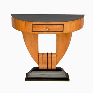 Art Deco Style Demilune Cherrywood & Ebonized Wood Console Table, 1940s