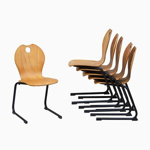 Chaises Cantilever Empilables Vintage, 1980s, Set de 6