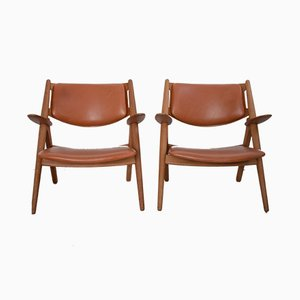 Model CH-28 Armchairs by Hans J. Wegner for Carl Hansen & Søn, 1950s, Set of 2