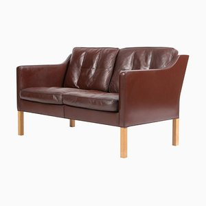 Brown Leather & Oak 2-Seater Sofa by Børge Mogensen for Fredericia, 1960s