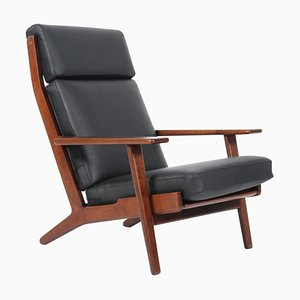 Smoked Oak & Leather 290A Lounge Chair by Hans J. Wegner for Getama, 1960s