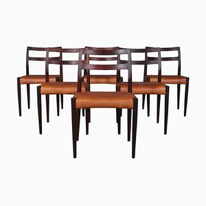Modell Anna Stühle aus Palisander & Leder von Johannes Andersen für Uldum, 1960er, 6er Set