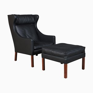 Model 2202/2204 Wingback Chair & Ottoman by Børge Mogensen for Fredericia, 1960s