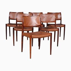 Sedie da pranzo in palissandro e pelle di Niels Otto Møller per JL Møllers, anni '60, set di 6