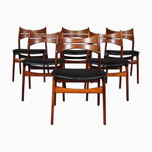 Model 310 Rosewood Chairs by Erik Buch for Chr. Christensen Møbelfabrik, 1960s, Set of 6