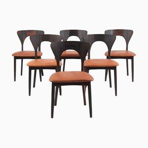 Peter Esszimmerstühle aus Palisander von Niels Koefoed, 1960er, 6er Set
