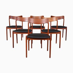 Teak & Aniline Leather Dining Chairs by Henning Kjærnulf, 1970s, Set of 6