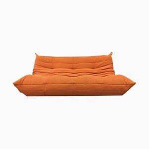 Sofá de tres plazas Togo vintage en naranja de Michel Ducaroy para Ligne Roset