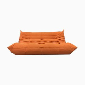 Vintage Orange Three-Seater Togo Sofa by Michel Ducaroy for Ligne Roset