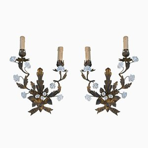 Antique Gilt Tole-Ware & Porcelain Sconces, Set of 2