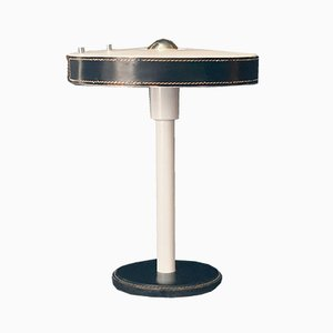 Lampada da tavolo modernista in pelle nera di Jacques Adnet per Philips, anni '60