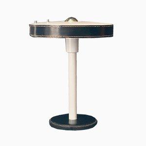 Moderne Tischlampe mit schwarzem Ledermantel von Jacques Adnet für Philips, 1960er