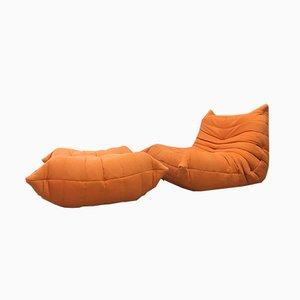 Juego de sillón y reposapiés Togo vintage naranja de Michel Ducaroy para Ligne Roset. Juego de 2