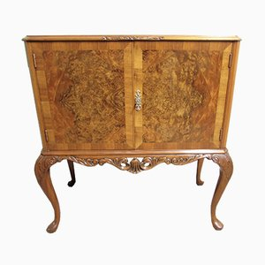 Antique Burr Walnut Queen Anne Cocktail Cabinet from Maple & Co.