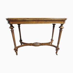 Mesa para cartas victoriana antigua de madera nudosa de nogal