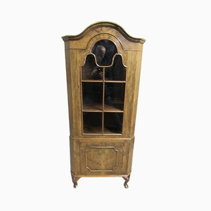Antique Style Burr Walnut Queen Anne Corner Cabinet