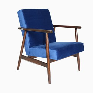 Vintage Blue Velvet Easy Chair, 1970s
