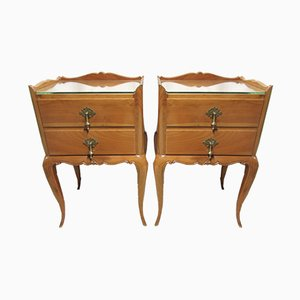 Antique Style French Walnut Nightstands, Set of 2