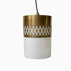 Mid-Century Lucite & Brass Pendant Light by Bent Karlby for Lyfa, 1960s