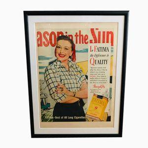 Vintage Fatima Zigaretten Werbedruck, 1950er