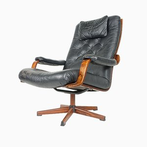 Norwegian Black Leather Swivel Chair From Westnofa, 1970s