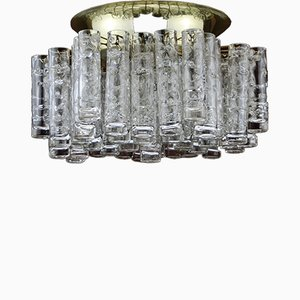 Brass Chandelier with Blown Glass Tubes from Doria Leuchten, 1970s