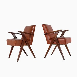Oak & Leatherette Chairs, 1950s, Set of 2