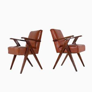 Stühle aus Eiche & Kunstleder, 1950er, 2er Set