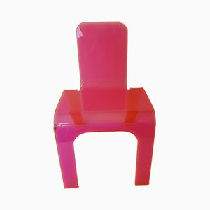 Pink & Orange Acrylic Children's Chair, 1980s